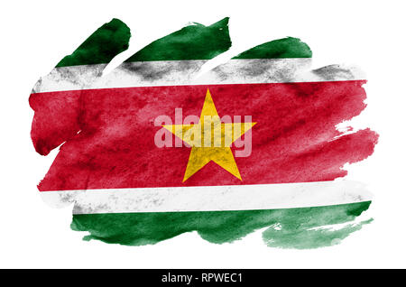 Suriname flag  is depicted in liquid watercolor style isolated on white background. Careless paint shading with image of national flag. Independence D - Stock Photo