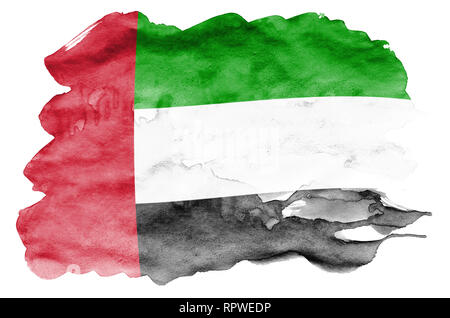 United Arab Emirates flag  is depicted in liquid watercolor style isolated on white background. Careless paint shading with image of national flag. In - Stock Photo