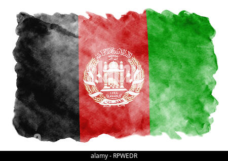 Afghanistan flag is depicted in liquid watercolor style isolated on white background. Careless paint shading with image of national flag. Independence - Stock Photo