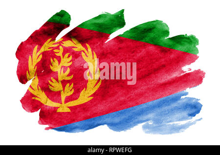 Eritrea flag  is depicted in liquid watercolor style isolated on white background. Careless paint shading with image of national flag. Independence Da - Stock Photo