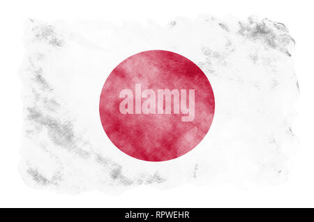 Japan flag  is depicted in liquid watercolor style isolated on white background. Careless paint shading with image of national flag. Independence Day  - Stock Photo