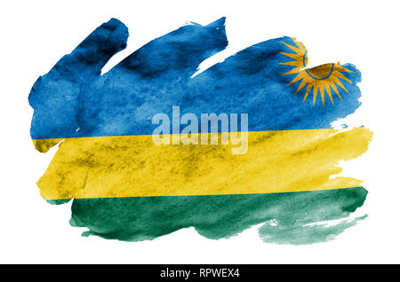 Rwanda flag  is depicted in liquid watercolor style isolated on white background. Careless paint shading with image of national flag. Independence Day - Stock Photo