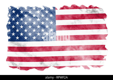 United States of America flag  is depicted in liquid watercolor style isolated on white background. Careless paint shading with image of national flag - Stock Photo