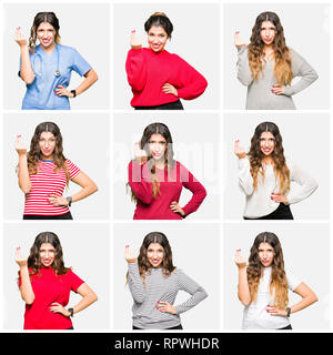 Collage of beautiful young woman wearing different looks over white isolated background Doing Italian gesture with hand and fingers confident expressi - Stock Photo