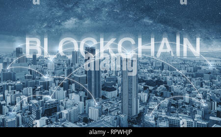 Blockchain technology, cityscape and connections link - Stock Photo