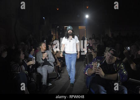 PARIS, FRANCE - SEPTEMBER 24: Gucci Creative Director Alessandro Michele walks the runway at the Gucci show during Paris Fashion Week Spring/Summer 20 - Stock Photo