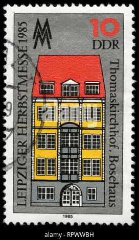 Postmarked stamp from East Germany (DDR)  in the Leipzig Autumn Fair series issued in 1985 - Stock Photo