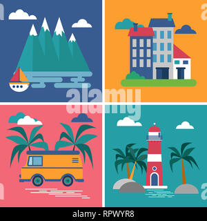 Collection of pictures in flat style. Four images from the category rest. - Stock Photo