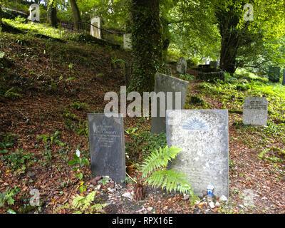 Overgrown graveyard at Minster Church, Boscastle, Cornwall, UK - Stock Photo