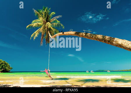 Man on beach. Active lifestyle traveler people enjoying summer travel vacation by the ocean Stock Photo