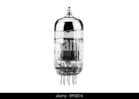 vintage audio amplifier tube isolated on white - Stock Photo