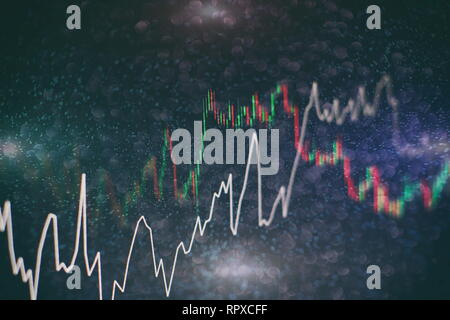 data on a monitor which including of Market Analyze. Bar graphs, Diagrams, financial figures. Forex chart. - Stock Photo