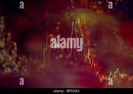 Forex glowing graphs of different colors showing financial market situation on abstract digital background. - Stock Photo