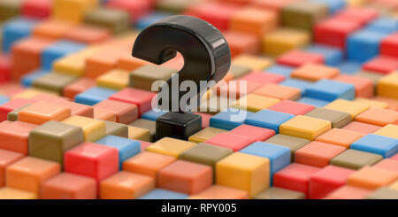 Abstract color cube block with Question Mark - Stock Photo