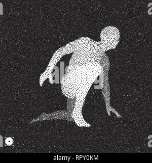 Athlete at starting position ready to start a race. Runner ready for sports exercise. Black and white grainy design. Stippling effect. Vector illustra - Stock Photo