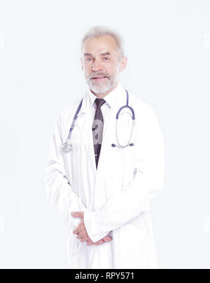 portrait of a senior physician therapist.isolated on light background - Stock Photo