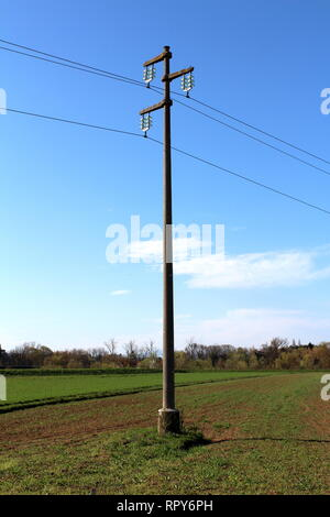 Tall concrete power line utility pole with glass insulators holding electrical wires in middle of field surrounded with grass and trees - Stock Photo