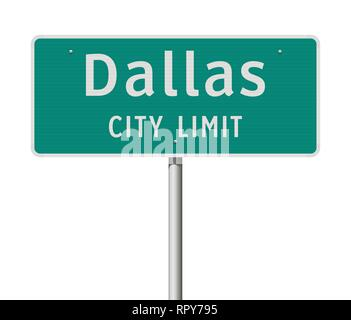 Vector illustration of the Dallas City Limit green road sign - Stock Photo