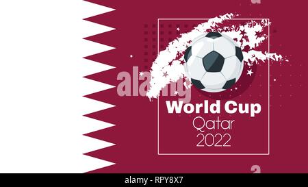 Soccer World cup 2022 tournament design banner or template with leather ball and national Qatar flag. Vector illustration. Horizontal composition. Abs - Stock Photo