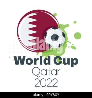 Soccer championship design element or card. World cup 2022. Football banner template with Qatar flag and leather game ball. Vector illustration with a - Stock Photo