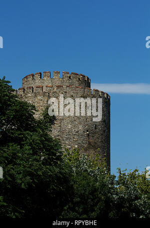 A tower of the Rumelihisar Fortress in Istanbul, Turkey used during the conquest of Constantinopolis. - Stock Photo