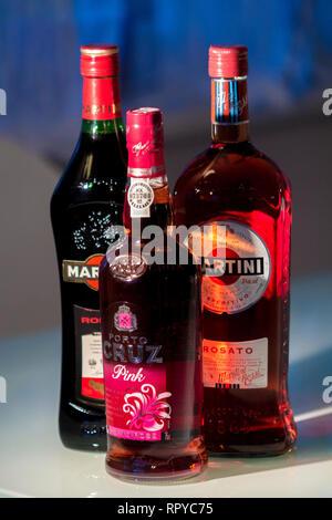Levent, Istanbul/Turkey - December 23rd 2018: Martini Rosso, Martini Rosato and Porto Cruz  Pink Port Wine. - Stock Photo