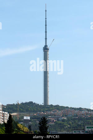 Camlica Hill, Istanbul / Turkey - The New Telecom Tower under construction. - Stock Photo