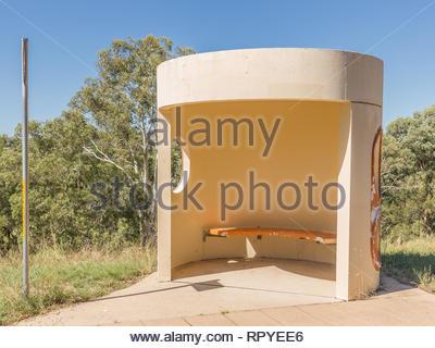 CANBERRA, AUSTRALIA – FEBRUARY 14, 2019: Round style bus shelter in Canberra, Australia - Stock Photo