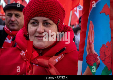 Moscow, Russia. 23 February, 2019: Participants in a march held by the Russian Communist Party in central Moscow to mark the 101st anniversary of establishment of the Red Army and the Navy on Defender of the Fatherland Day Credit: Nikolay Vinokurov/Alamy Live News Stock Photo