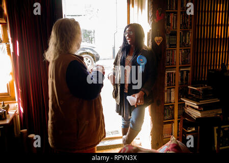 Thaxted, Essex, England. 23rd February 2019. Kemi Badenoch Conservative MP for Saffron Walden Essex UK campaigning for two local council candidates in the Uttlesford District Council ( UDC ) election to be held on 2 May 2019. She is seen here talking to local resident Nicola Bertoya about issues of concern such as speeding motorists in the area.  Olukemi Olufunto Badenoch (née Adegoke; born January 1980)is a British Conservative politician and Member of Parliament for Saffron Walden. Adegoke was born in Wimbledon, London to parents of Nigerian origin. Credit: BRIAN HARRIS/Alamy Live News - Stock Photo