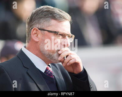 Tynecastle Park, Edinburgh, UK. 23th February 2019. Football. Ladbrokes Premiership league fixture between Hearts and St Mirren; Hearts Manager Craig Levein Credit: Scottish Borders Media/Alamy Live News  Editorial use only, license required for commercial use. No use in betting. - Stock Photo