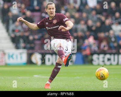 Tynecastle Park, Edinburgh, UK. 23th February 2019. Football. Ladbrokes Premiership league fixture between Hearts and St Mirren; Peter Haring of Hearts  Credit: Scottish Borders Media/Alamy Live News  Editorial use only, license required for commercial use. No use in betting. - Stock Photo