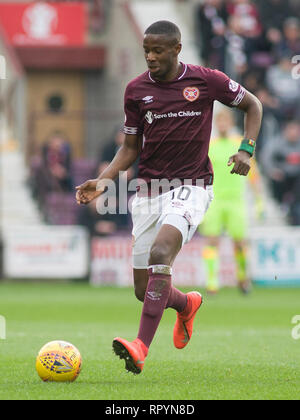 Tynecastle Park, Edinburgh, UK. 23th February 2019. Football. Ladbrokes Premiership league fixture between Hearts and St Mirren; Arnaud Djoum of Hearts  Credit: Scottish Borders Media/Alamy Live News  Editorial use only, license required for commercial use. No use in betting. - Stock Photo