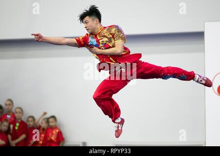 Moscow, Russia. 23rd Feb, 2019. A competitor performs during the opening ceremony for the Moscow Wushu Stars 2019 competition in Moscow, Russia, on Feb. 23, 2019. Credit: Bai Xueqi/Xinhua/Alamy Live News