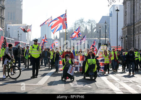 London, UK. 23rd Feb, 2019. Yellow Vest UK meets at Trafalgar Square for a day of action in and around the streets of Westminster. Penelope Barritt/Alamy Live News - Stock Photo