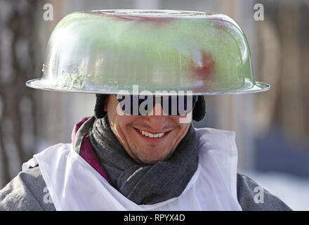 Moscow, Russia. 23rd Feb, 2019. MOSCOW, RUSSIA - FEBRUARY 23, 2019: A participant in the Battle Sani creative sledge festival in Moscow. Artyom Geodakyan/TASS Credit: ITAR-TASS News Agency/Alamy Live News