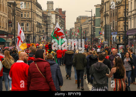 Principality Stadium, Cardiff, Wales, 23rd February 2019. Rugby supporters  enjoy the atmosphere ahead of today's crunch game in the six nations rugby championship between Wales and England. Six Nations Rugby, Principality Stadium, Cardiff, Wales, UK. Credit: Haydn Denman/Alamy Live News. - Stock Photo
