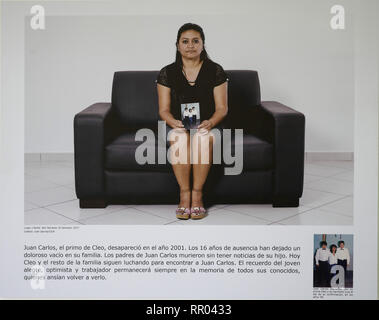 EL SALVADOR  Photograph exhibition 'Desde el dia que te fuiste' - Since the Day You Left. Each photograph is captioned with text below. - Stock Photo