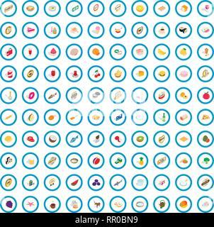 100 chef icons set, isometric 3d style - Stock Photo