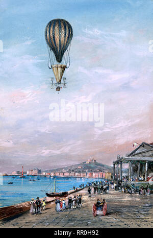 Balloon w parachute and propellers, associated with Francesco Orlandi, flying over a town and harbor possibly during an ascent in Italy between 1820 and 1850 - Stock Photo