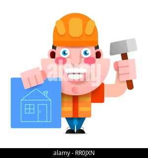 The Builder In A Helmet With A Hammer And A Drawing Scheme Of The House, Is Ready To Execute Your Project. Vector Illustration. - Stock Photo