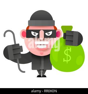 Thief With A Bag Of Money Running From Prosecution. Vector Illustration On White Background. - Stock Photo