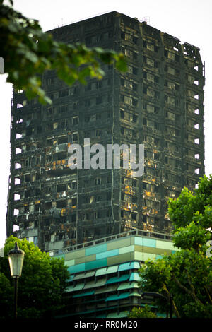 Grenfell Tower, London, from a distance, portrait - Stock Photo