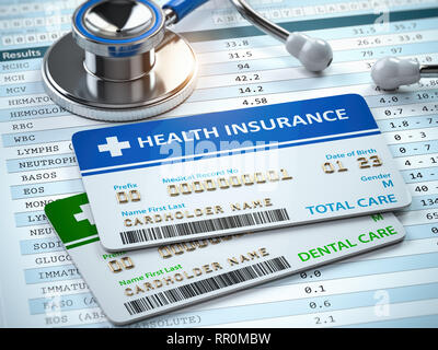 Health Insurance cards total and dental care with stethscope. 3d illustration - Stock Photo