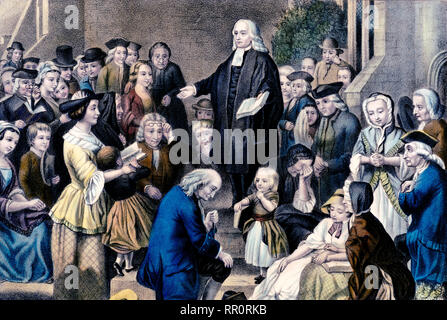 John Wesley preaching on his fathers grave in the church yard at Epworth Sunday June 6th 1742 - Stock Photo