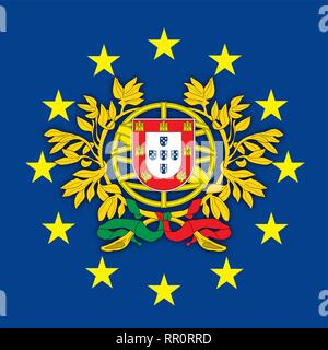 Austria coat of arms on the European Union flag, vector illustration Portugal coat of arms on the European Union flag, vector illustration - Stock Photo