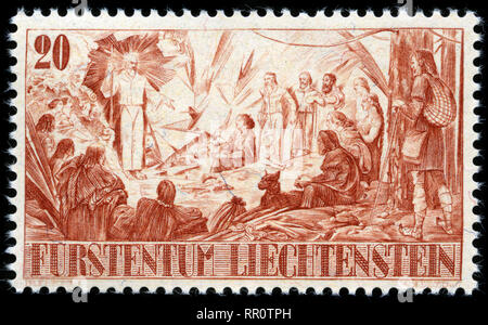 Postage stamp from Liechtenstein in the Landdividing series issued in 1942 - Stock Photo
