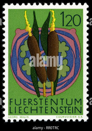 Postage stamp from Liechtenstein in the Flowers series issued in 1972 - Stock Photo