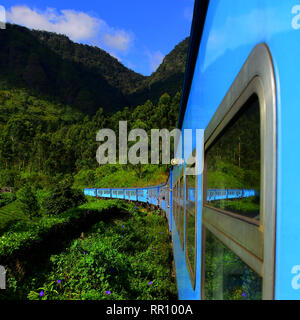 Window reflections, Blue Train, Colombo to the Hill Country, Nuwara Eliya, Ella, Sri Lanka - Stock Photo