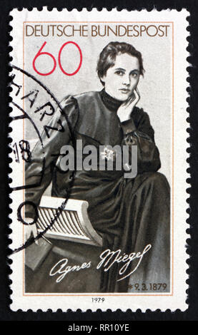 GERMANY - CIRCA 1979: a stamp printed in the Germany shows Agnes Miegel, Poet, circa 1979 - Stock Photo